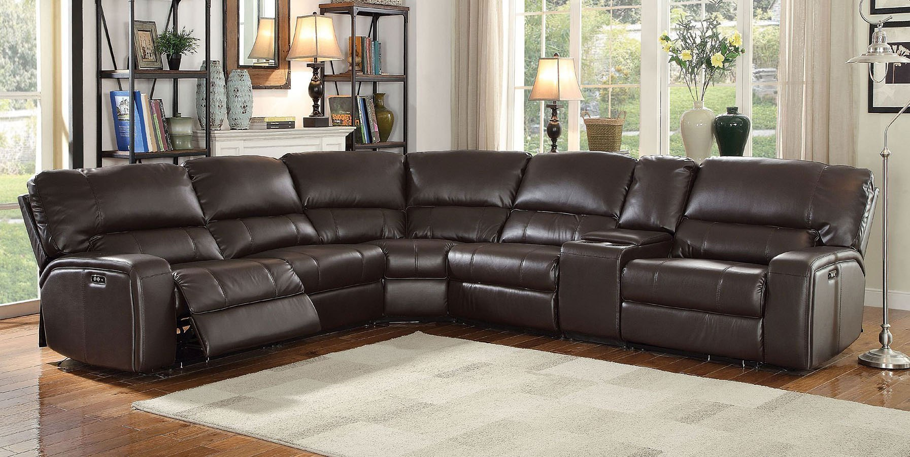 Saul Power Reclining Sectional Espresso By Acme