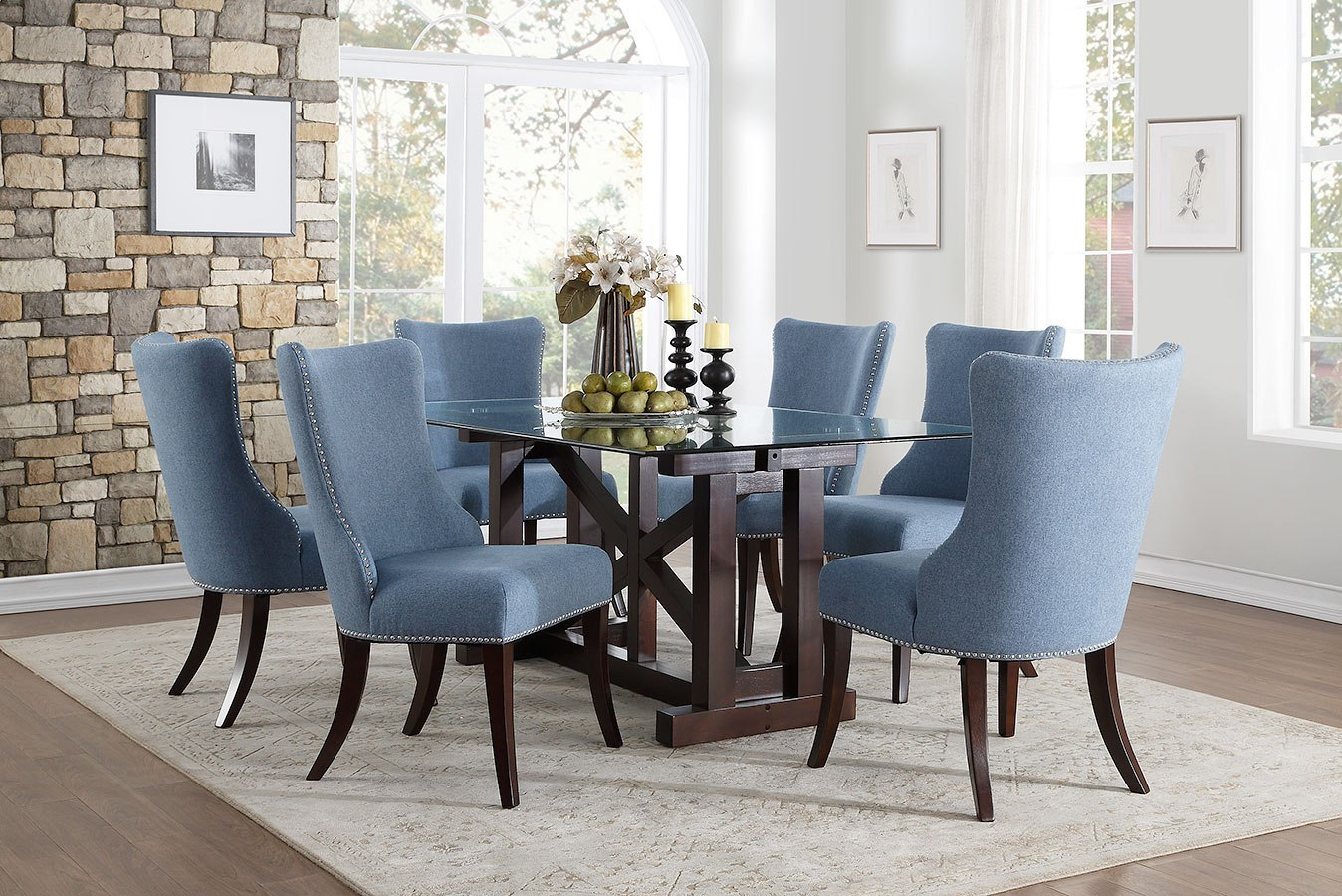 blue dining room set   Salema Dining Room Set w/ Blue Chairs by Homelegance ...