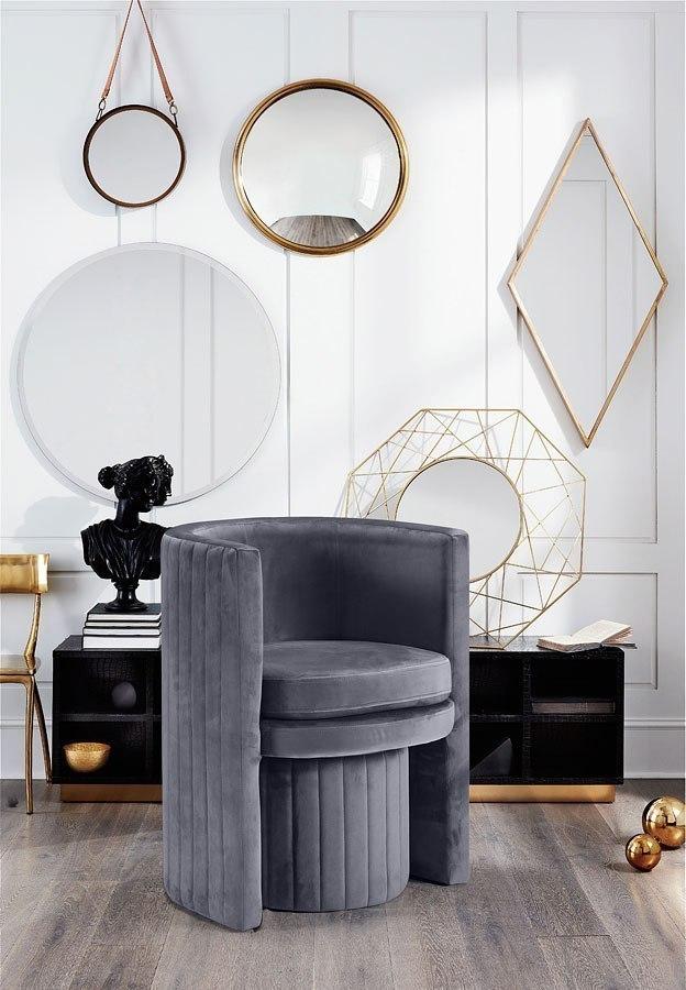 Selena Velvet Accent Chair Grey By Meridian Furniture Furniturepick