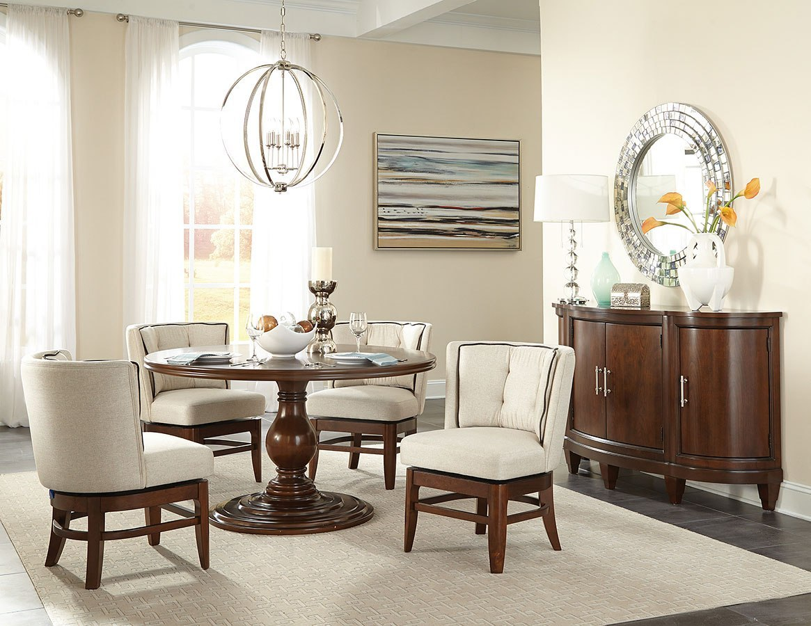 Oratorio Round Dining Room Set W Swivel Chairs
