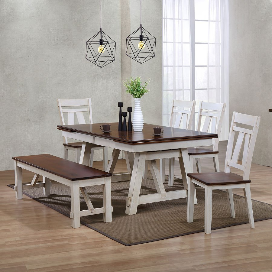 Kimbrell S Living Room Sets: Winslow Rectangular Dining Set W/ Bench (Two-Tone) By