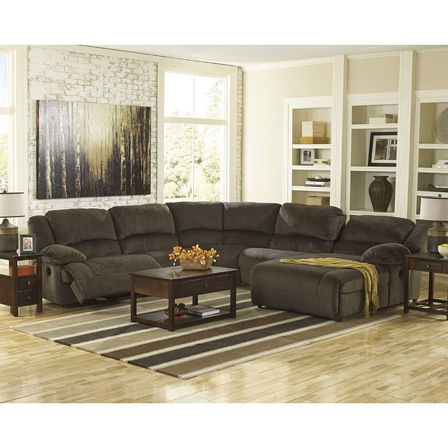 Toletta Chocolate Reclining Sectional Set By Signature Design By