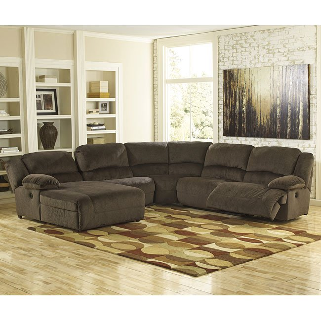 Toletta Chocolate Reclining Sectional By Signature Design