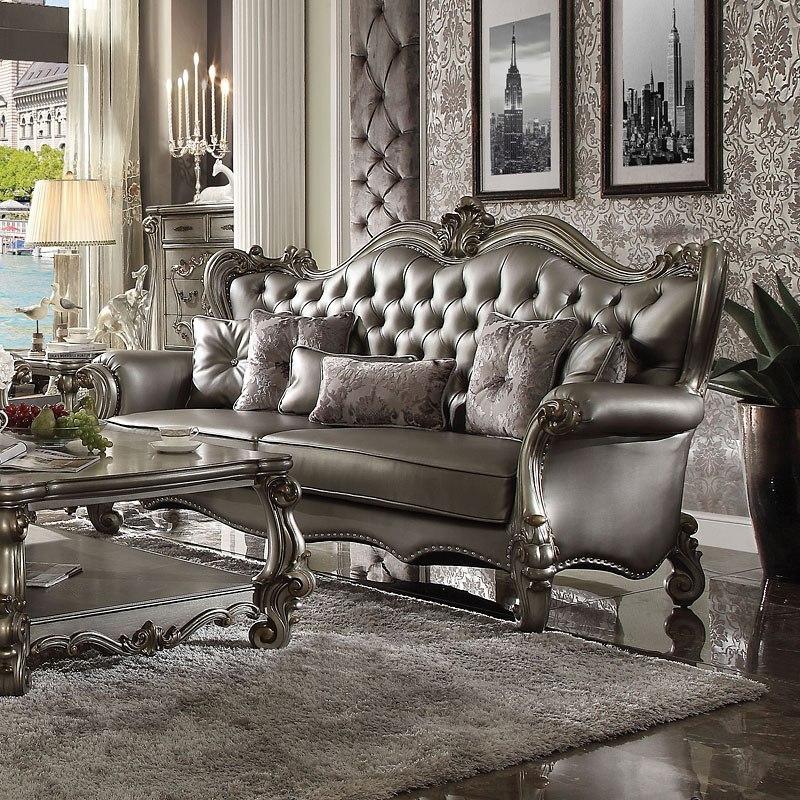 Versailles Sofa Silver Pu