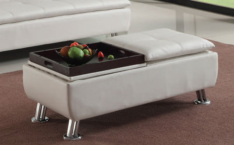 Derrick Ottoman W Storage And Tray By Acme Furniture