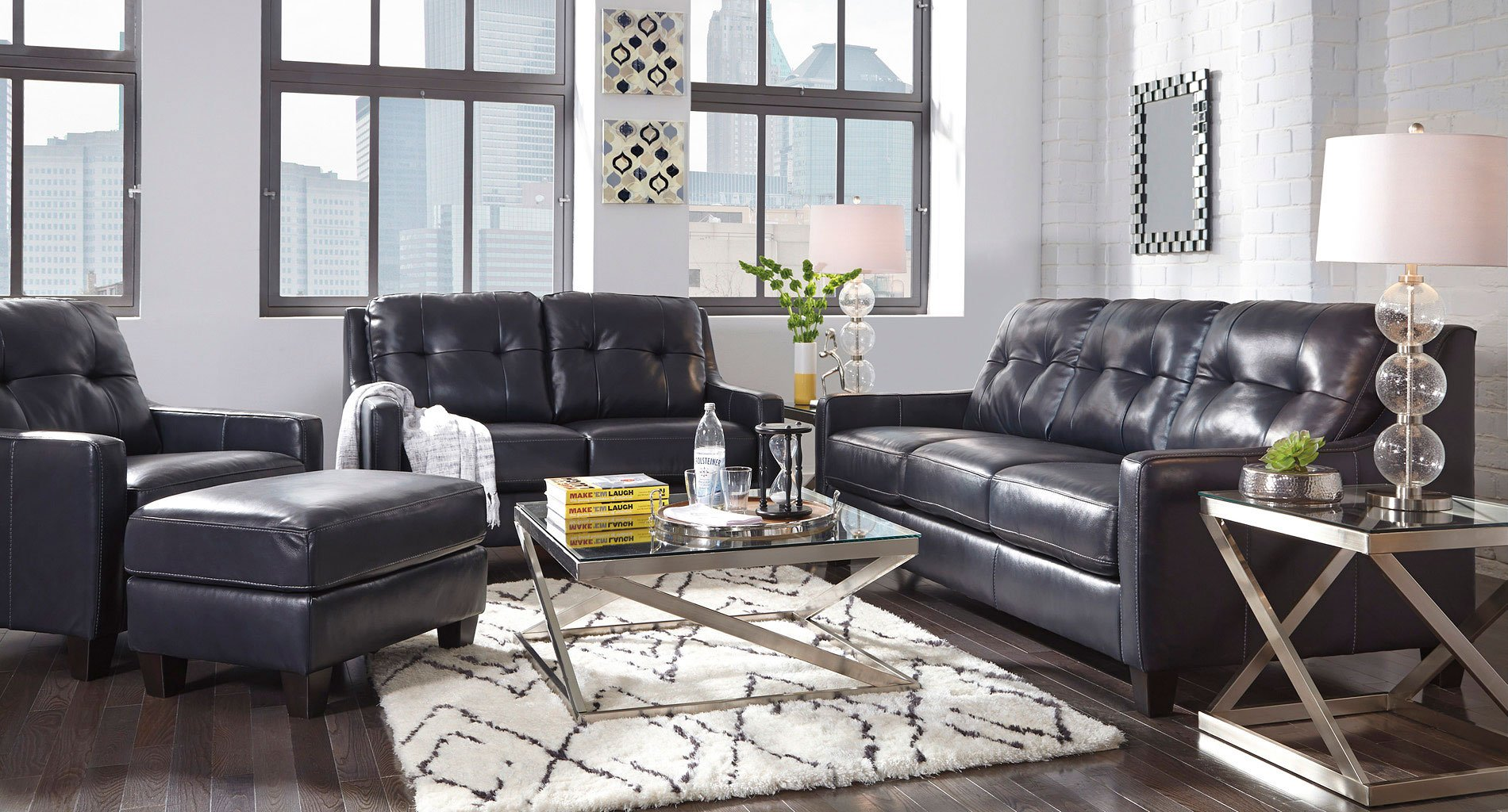 Okean Navy Living Room Set By Signature Design By Ashley Furniturepick