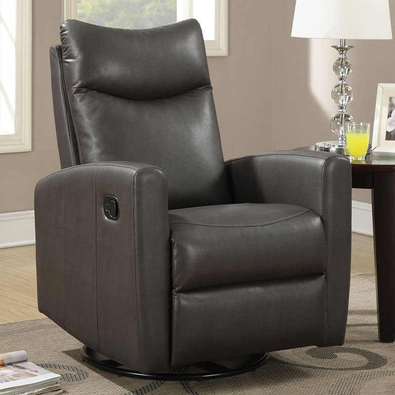 Modern Swivel Rocker Recliner Gray By Coaster Furniture