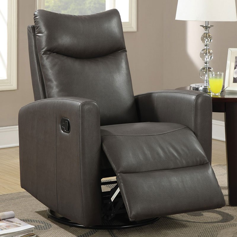 Modern Swivel Rocker Recliner Gray By Coaster Furniture