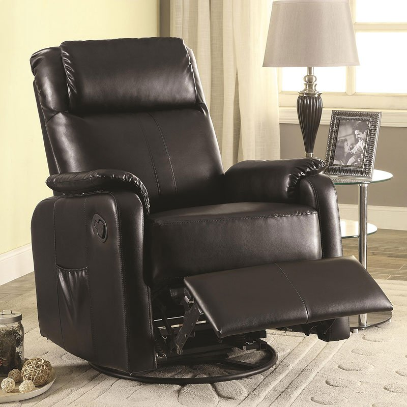 Leatherette Swivel Glider Recliner Black By Coaster