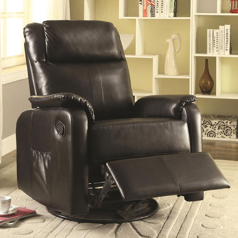 Leatherette Swivel Glider Recliner Brown By Coaster