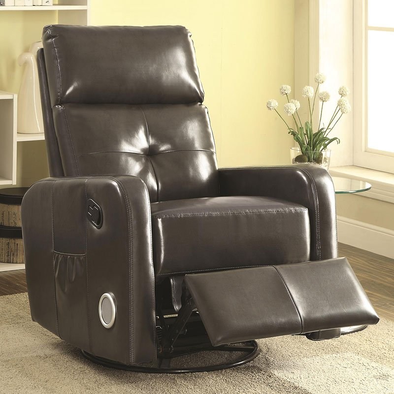 Swivel Glider Recliner W Bluetooth And Speakers Grey