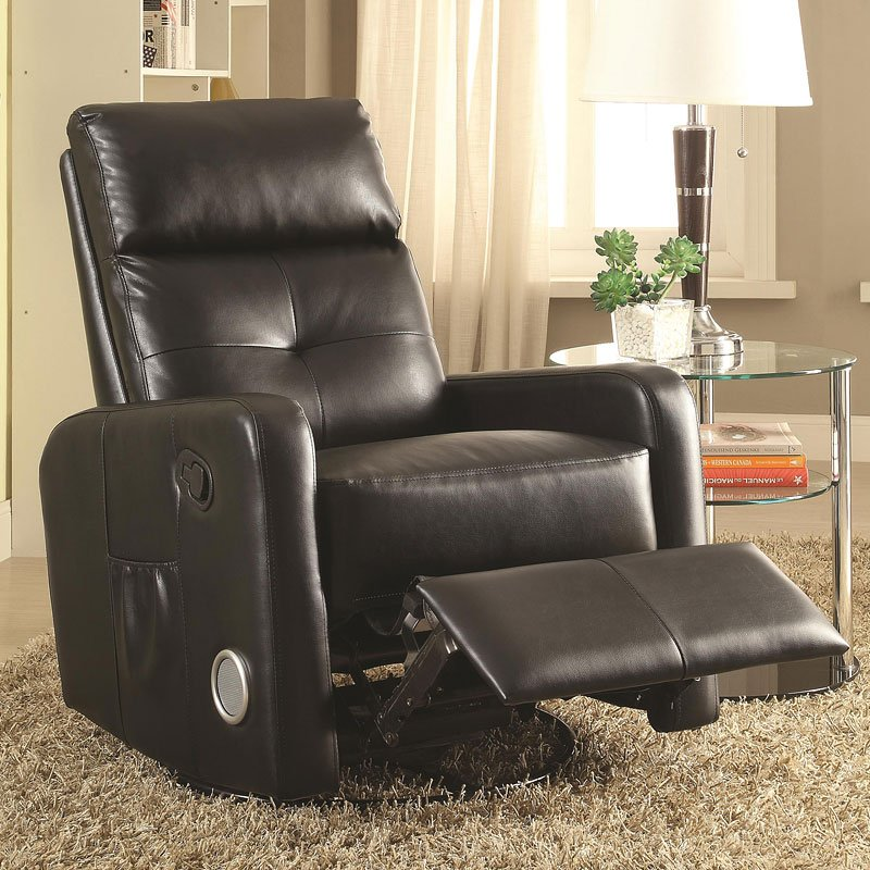 Swivel Glider Recliner W Bluetooth And Speakers Black