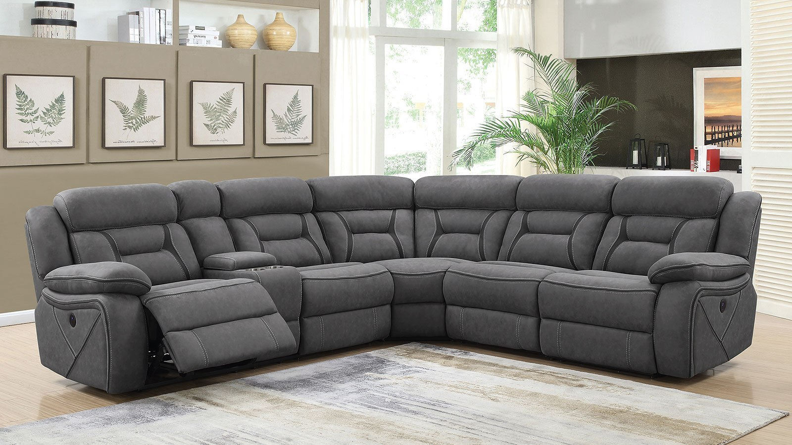 Camargue Power Reclining Sectional (Grey)