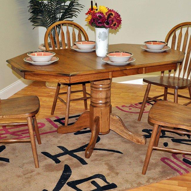 Octagonal Pedestal Table (Burnished Oak) By ECI Furniture