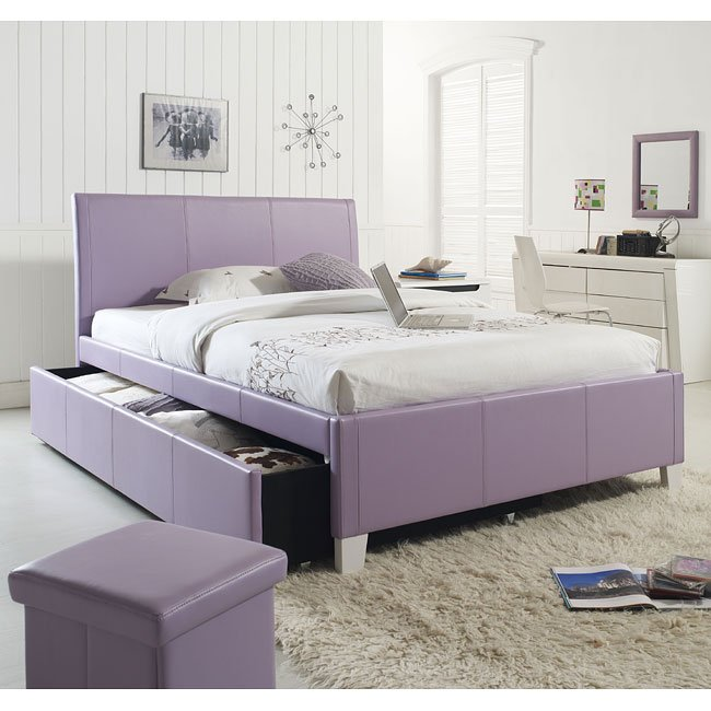 Fantasia Lavender Upholstered Bed W Trundle Twin