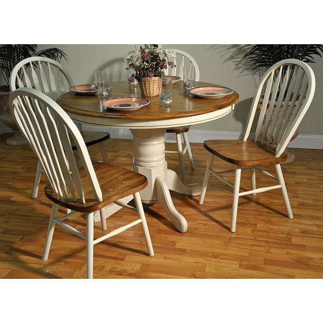 Antique White And Oak Round Dining Room Set By ECI