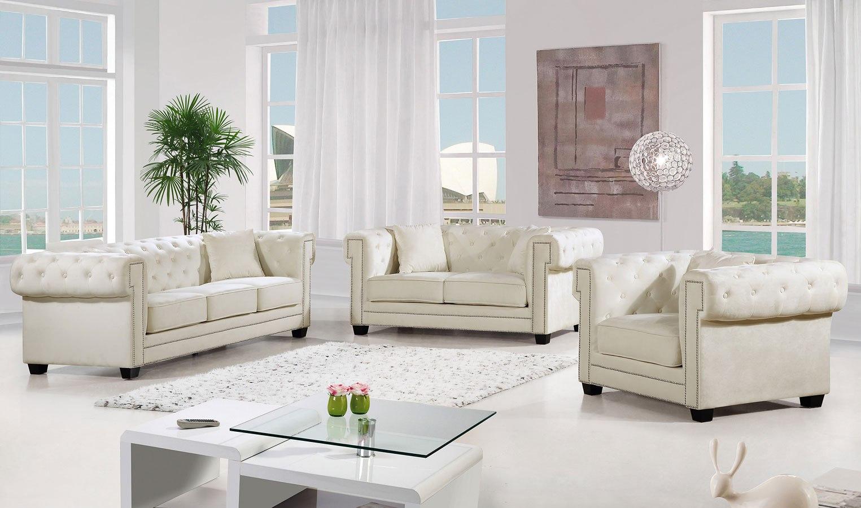 Bowery Living Room Set (Cream)
