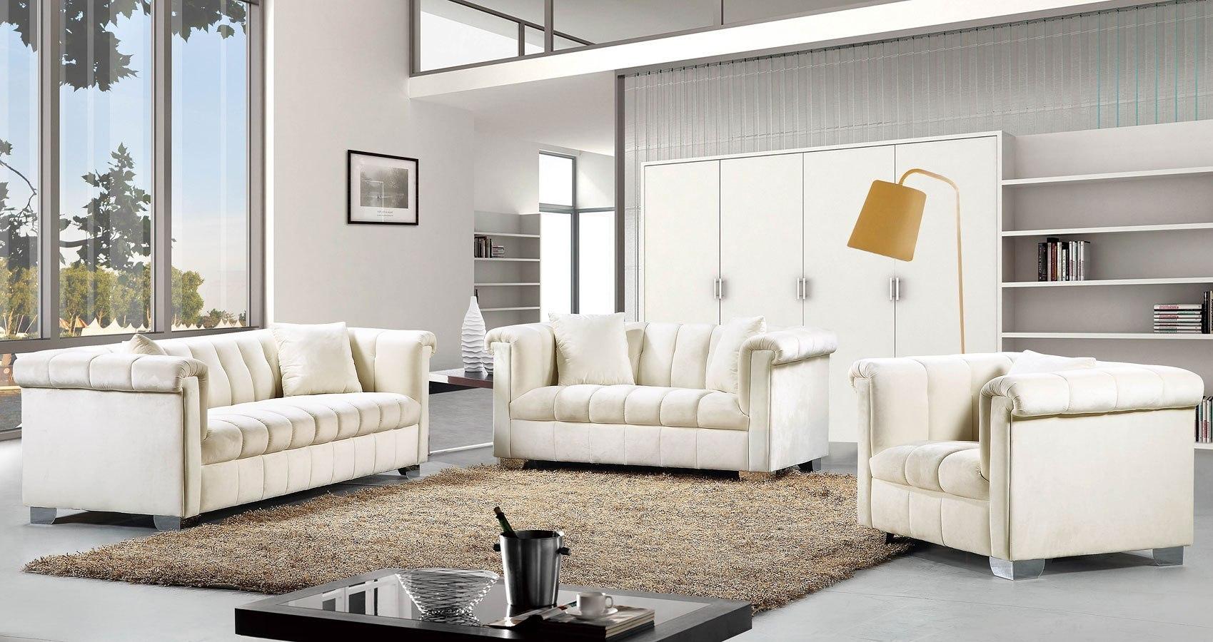Kayla Living Room Set (Cream)