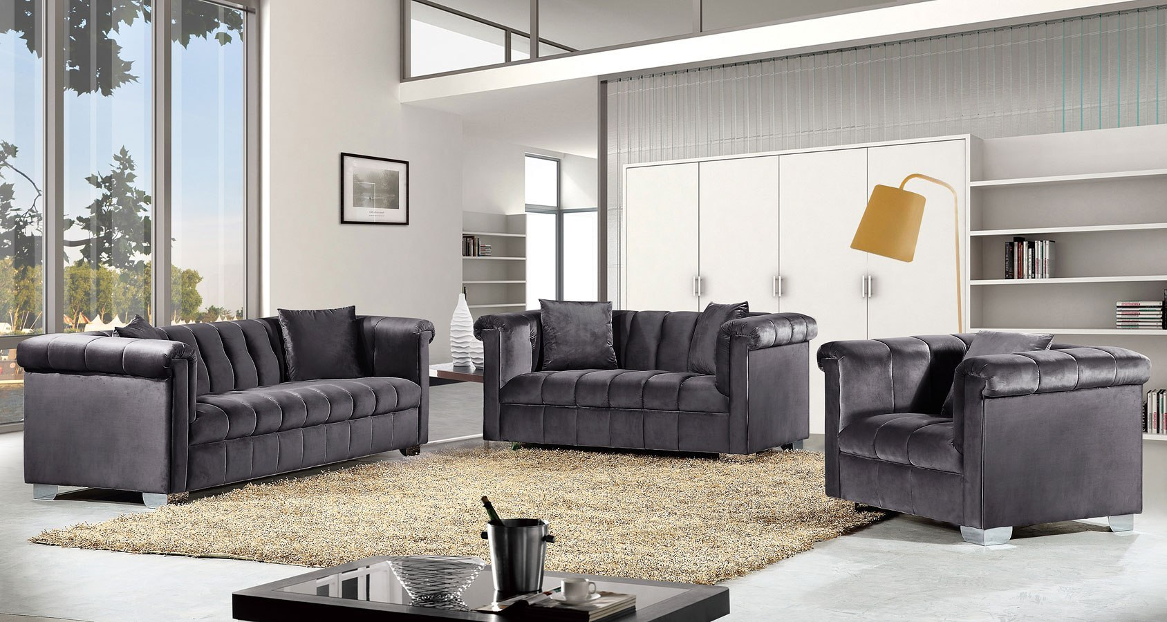 Kayla Living Room Set (Grey)