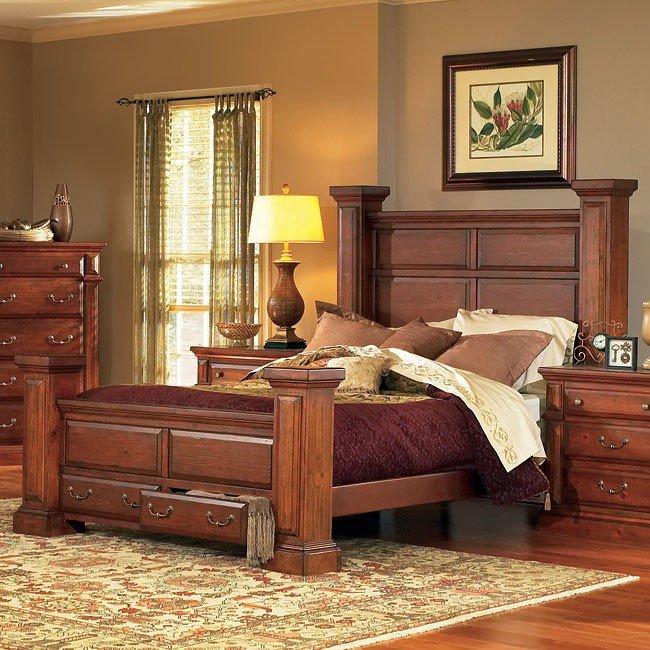 Torreon Poster Storage Bed Antique Pine Queen