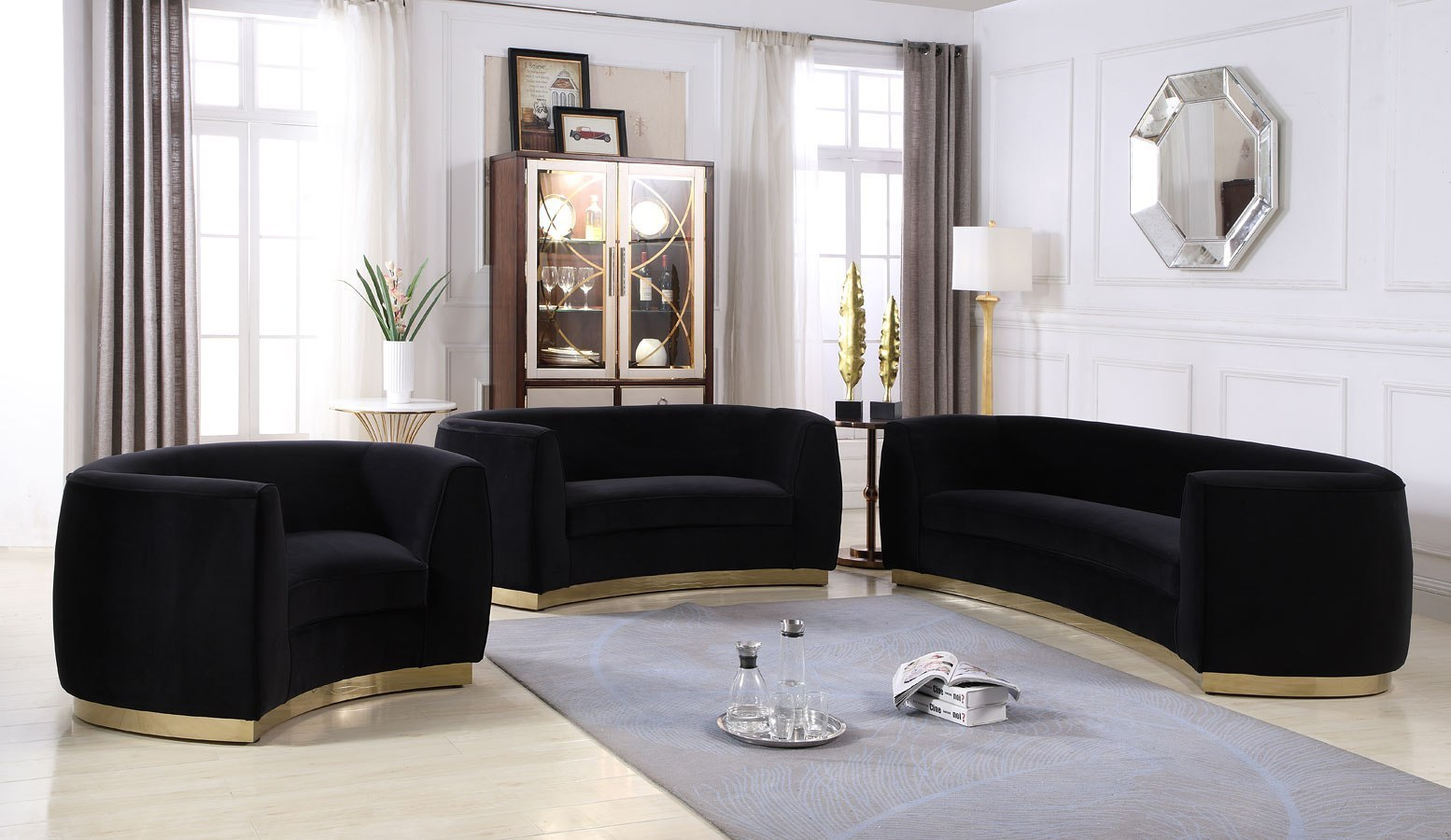 Julian Living Room Set Black Gold By Meridian Furniture
