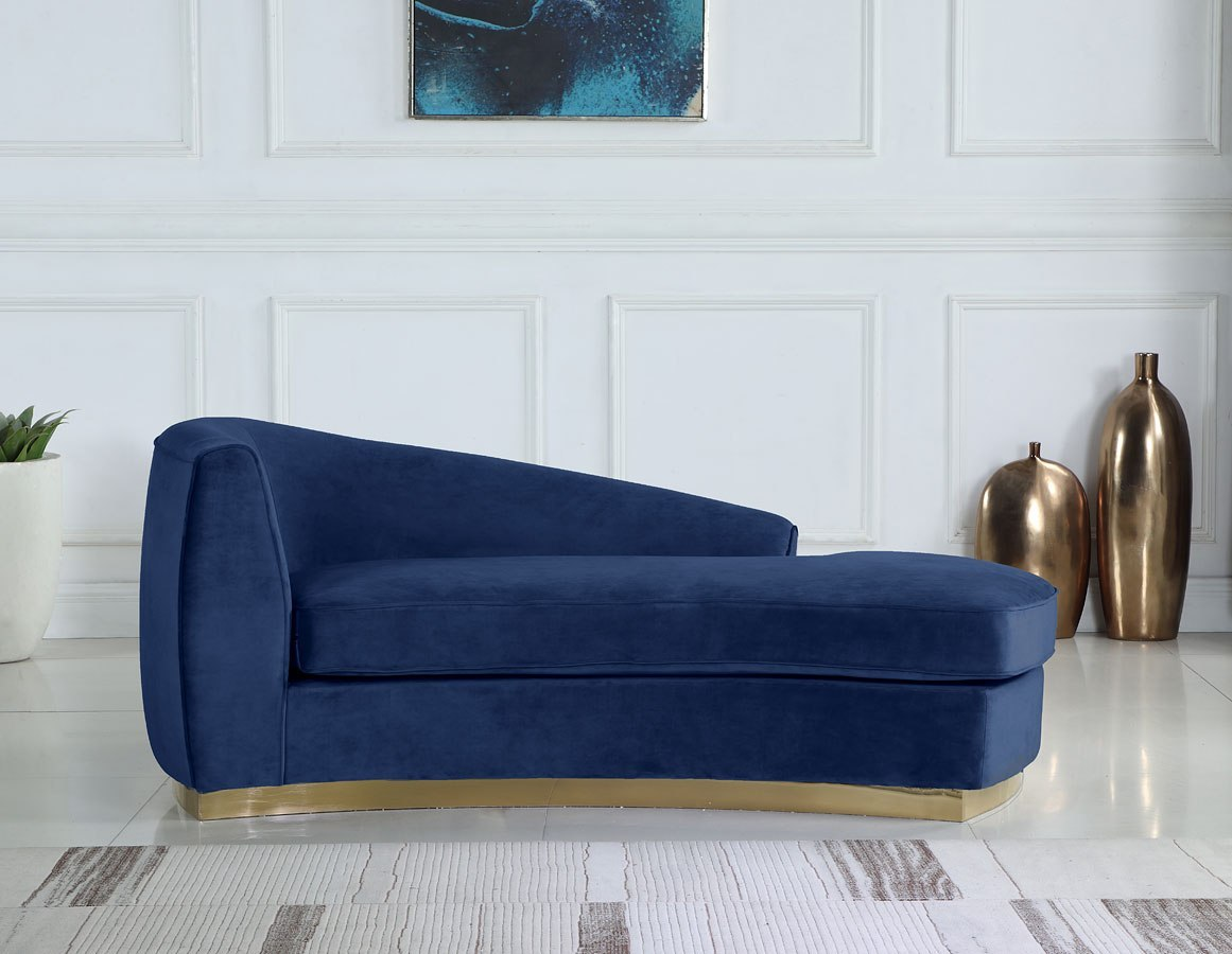 Julian Navy Blue Couch With Gold Base