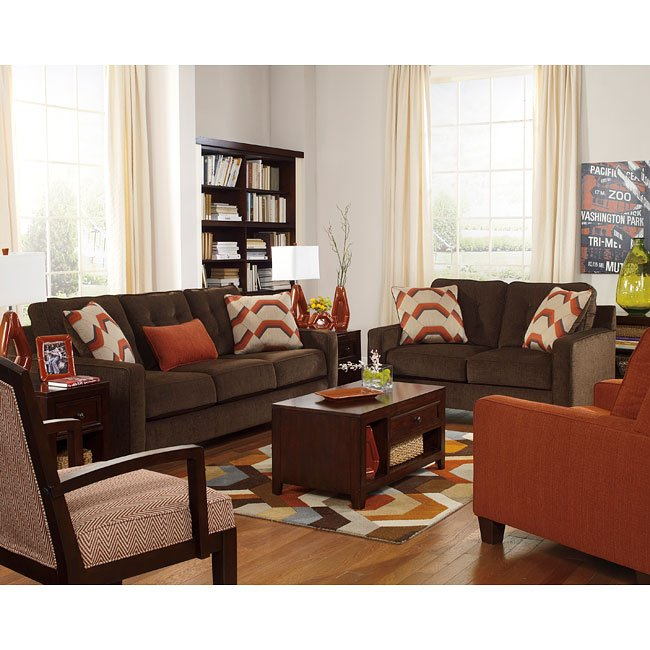 Verbena Chocolate Living Room Set