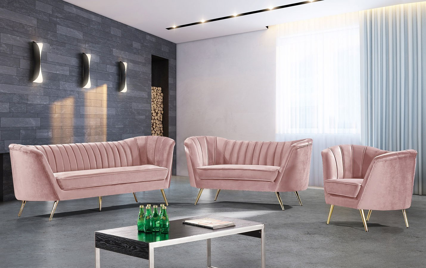 Margo Living Room Set Pink By Meridian Furniture