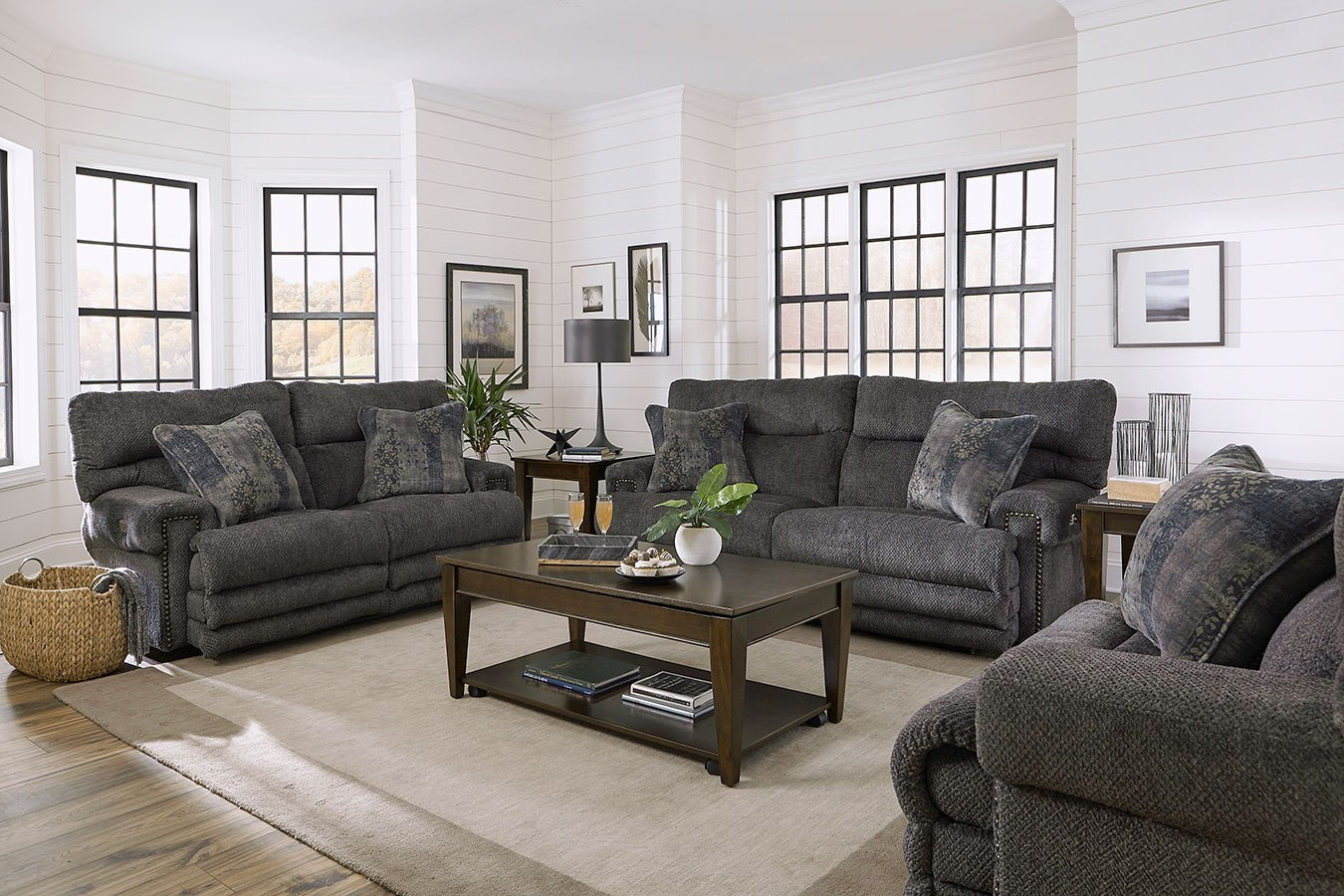 Garrison Power Lay Flat Reclining Living Room Set W Power Headrests Pewter