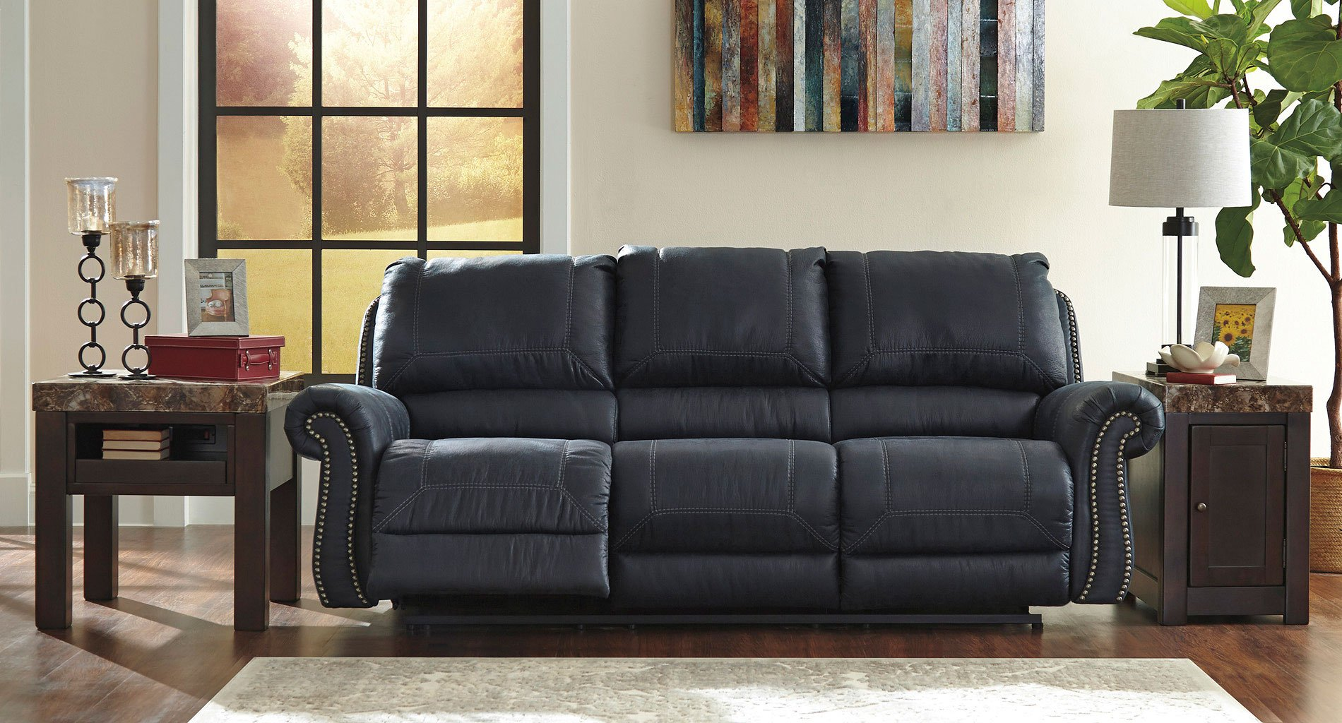 Milhaven Navy Reclining Sofa By Signature Design By Ashley