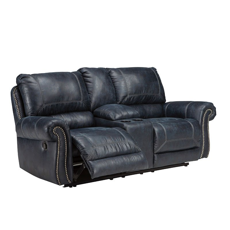 Milhaven Navy Reclining Loveseat W Console By Signature