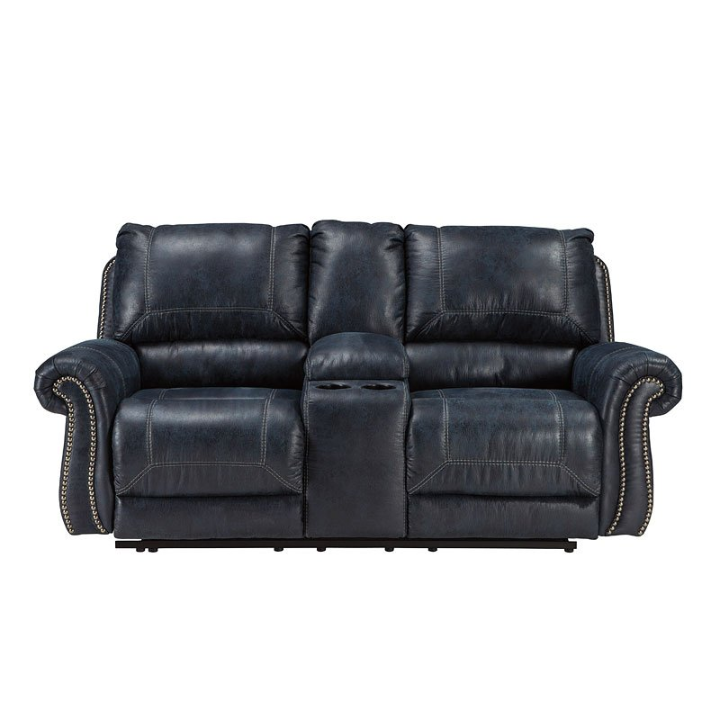 Milhaven Navy Power Reclining Loveseat W Console By