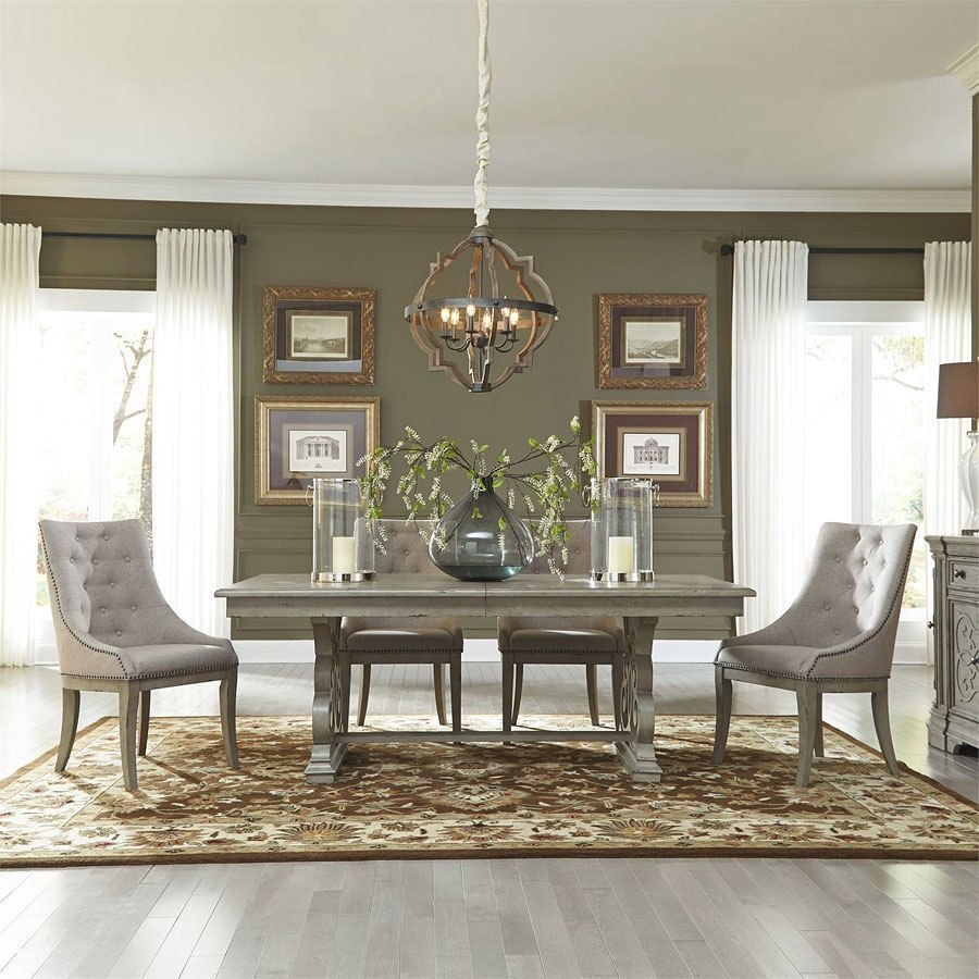 Liberty Furniture Dining Room Sets: Grand Estates Trestle Dining Room Set W/ Hostess Chairs By