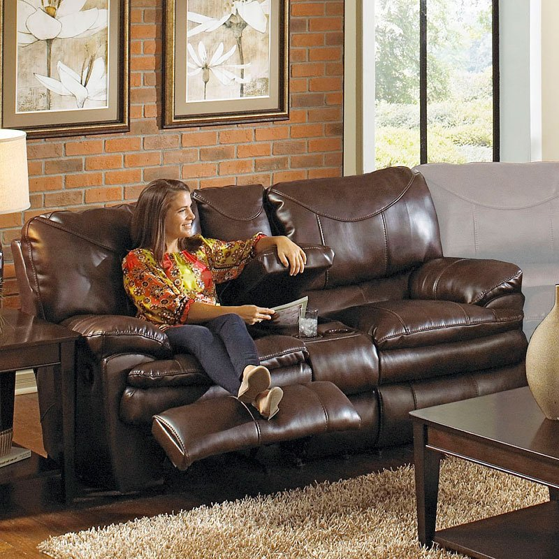 Perez Power Reclining Console Loveseat Chestnut By