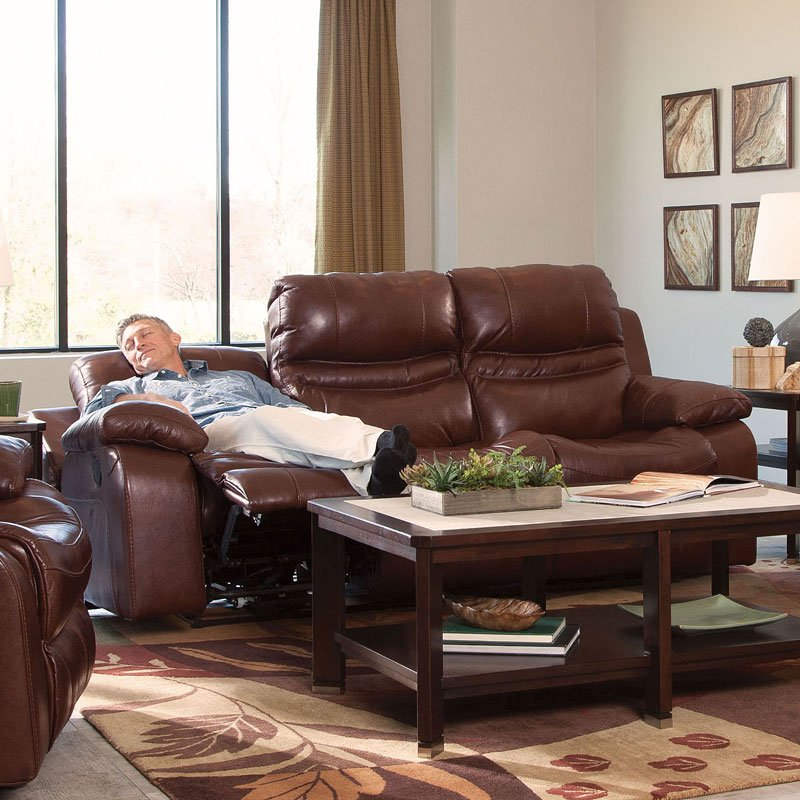 Patton Power Lay Flat Reclining Sofa Walnut By Catnapper