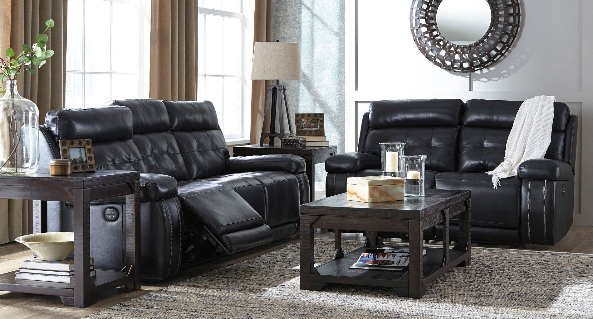 Graford Navy Power Reclining Living Room Set By Signature