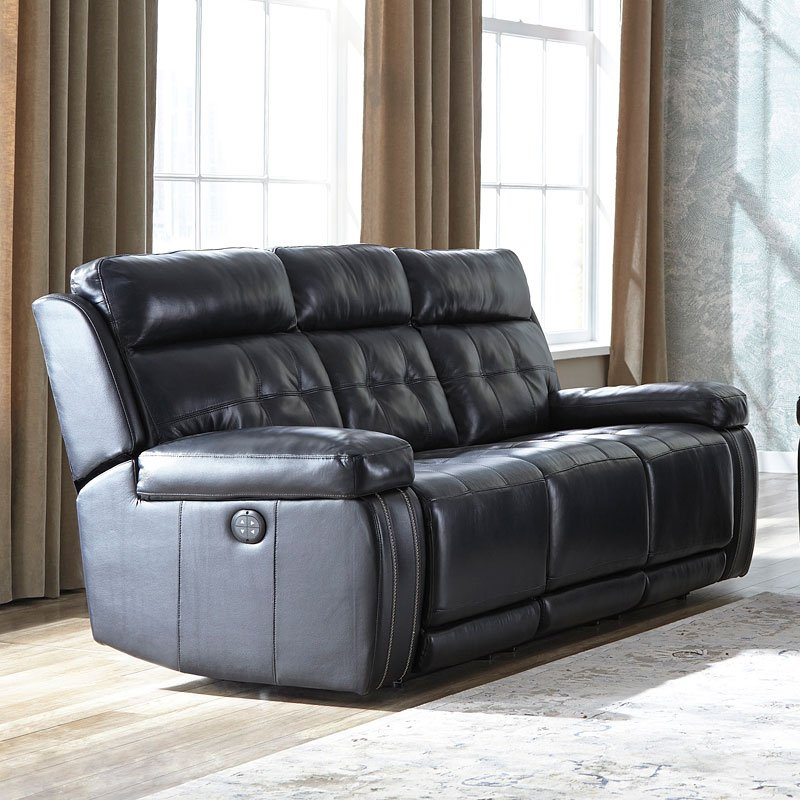 Graford Navy Power Reclining Sofa W Adjustable Headrests