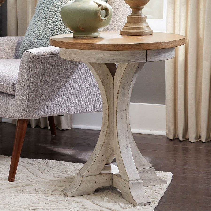 Farmhouse Reimagined Round Chair Side Table By Liberty Furniture Furniturepick