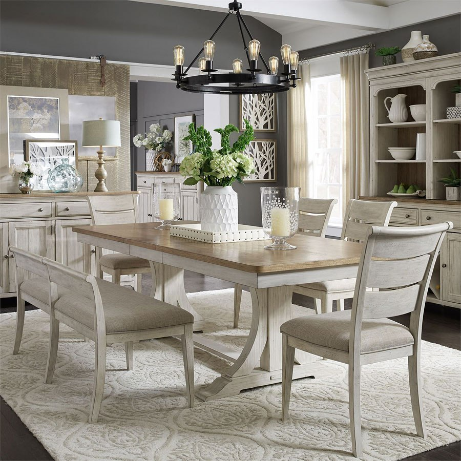 Farmhouse Reimagined Rectangular Dining Set W Upholstered