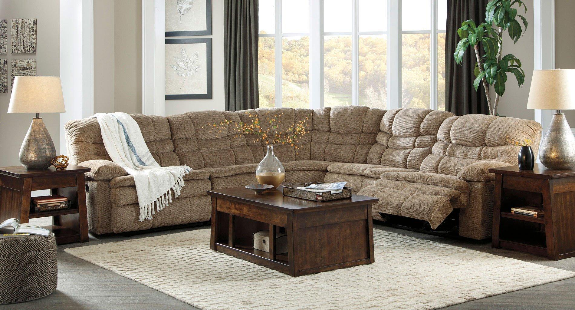 zavion caramel modular reclining sectional set living room sets living room furniture. Black Bedroom Furniture Sets. Home Design Ideas