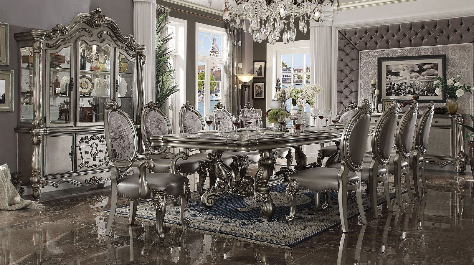 Groovy Versailles 136 Inch Dining Room Set Antique Platinum Home Interior And Landscaping Ponolsignezvosmurscom