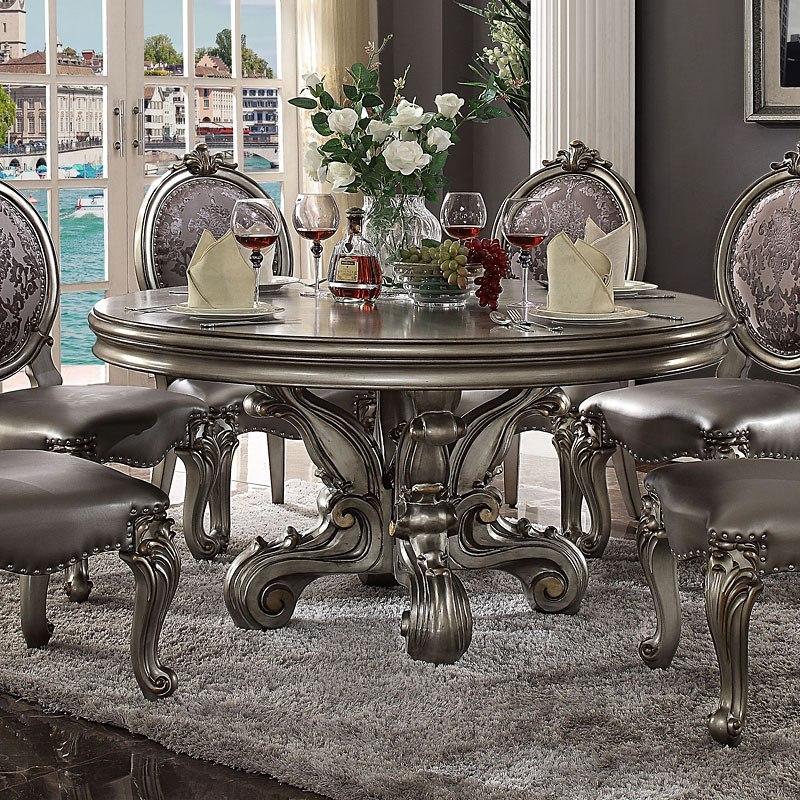 Versailles Round Dining Room Set (Antique Platinum) By