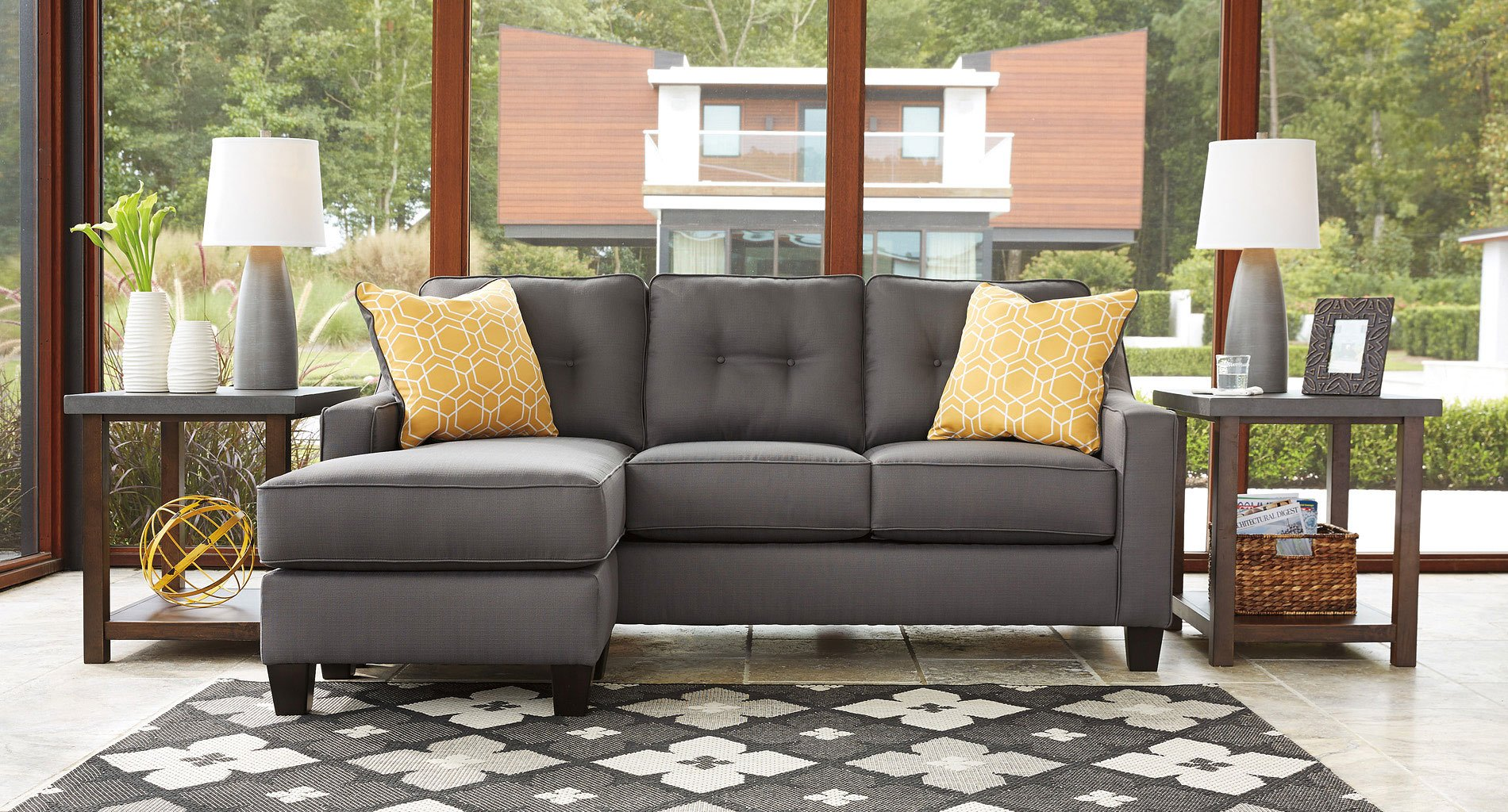 Aldie Nuvella Gray Sofa Chaise By Benchcraft 2 Review S