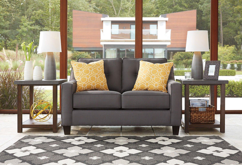 Aldie Nuvella Gray Loveseat By Benchcraft Furniturepick