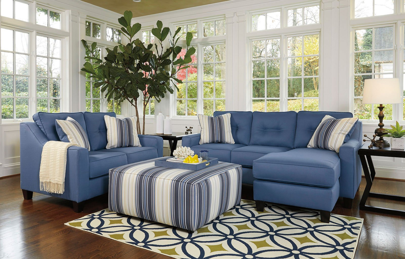 Beau Aldie Nuvella Blue Living Room Set