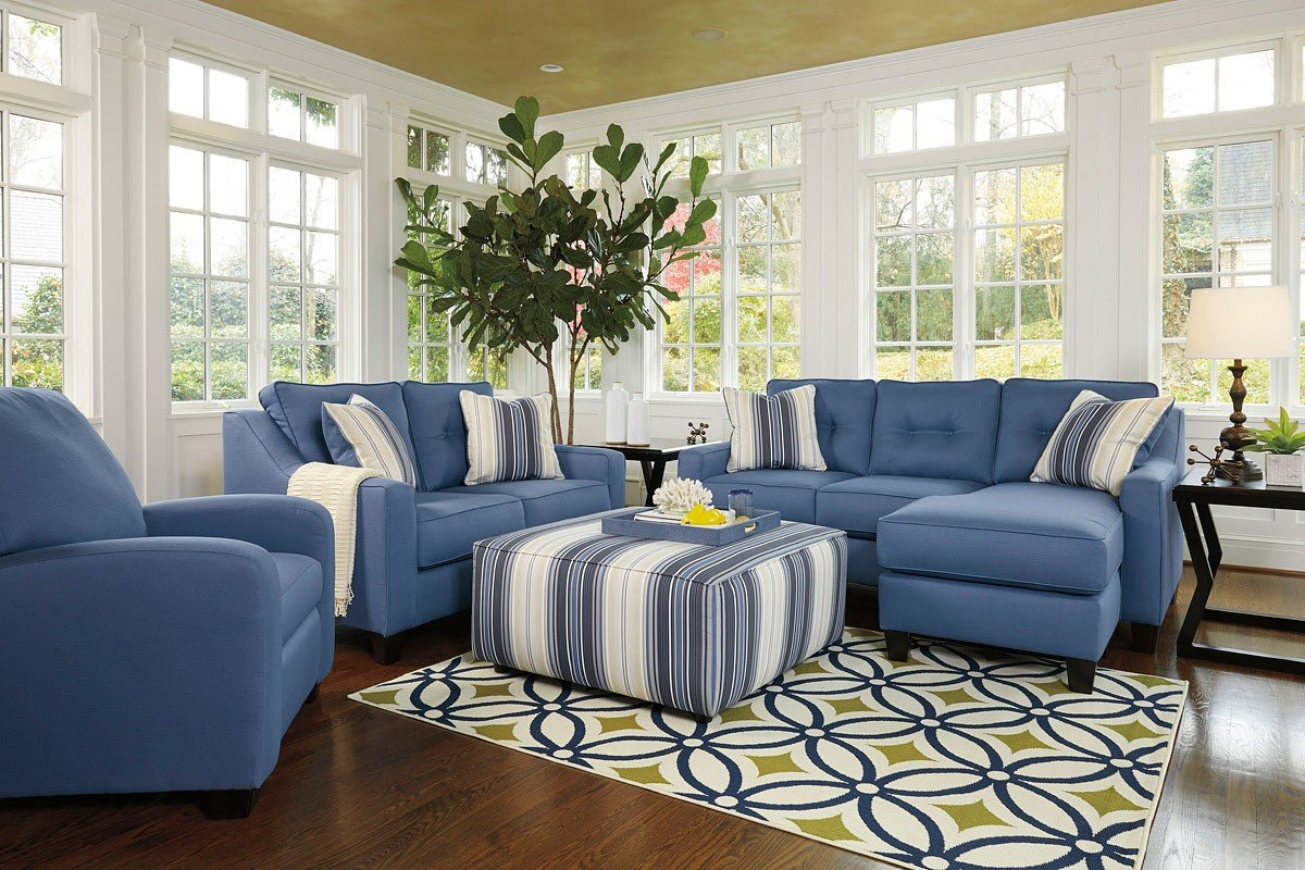 Aldie Nuvella Blue Living Room Set By Benchcraft