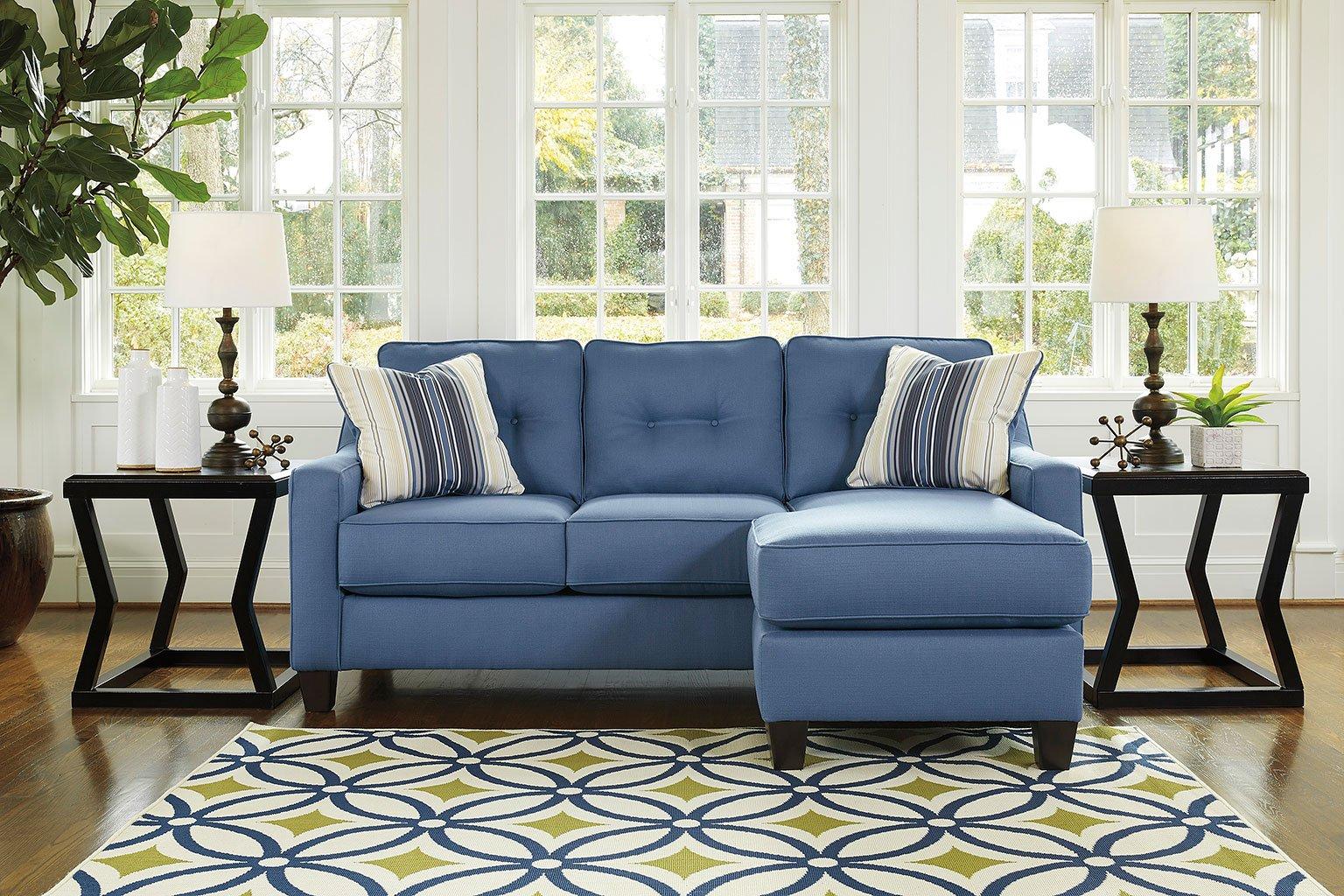 Aldie Nuvella Blue Sofa Chaise By Benchcraft Furniturepick