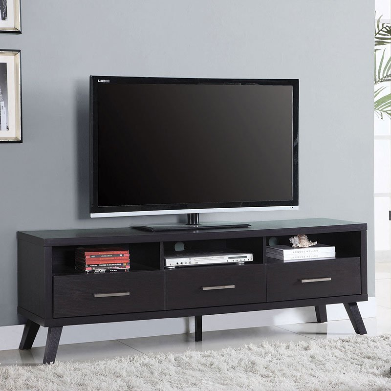 mid century modern tv console w three drawers tv stands and entertainment furniture living. Black Bedroom Furniture Sets. Home Design Ideas