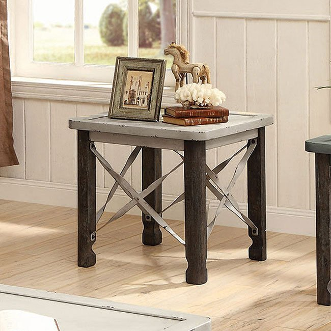 Rustic industrial end table antique white end tables occasional and accent furniture for White end tables for living room