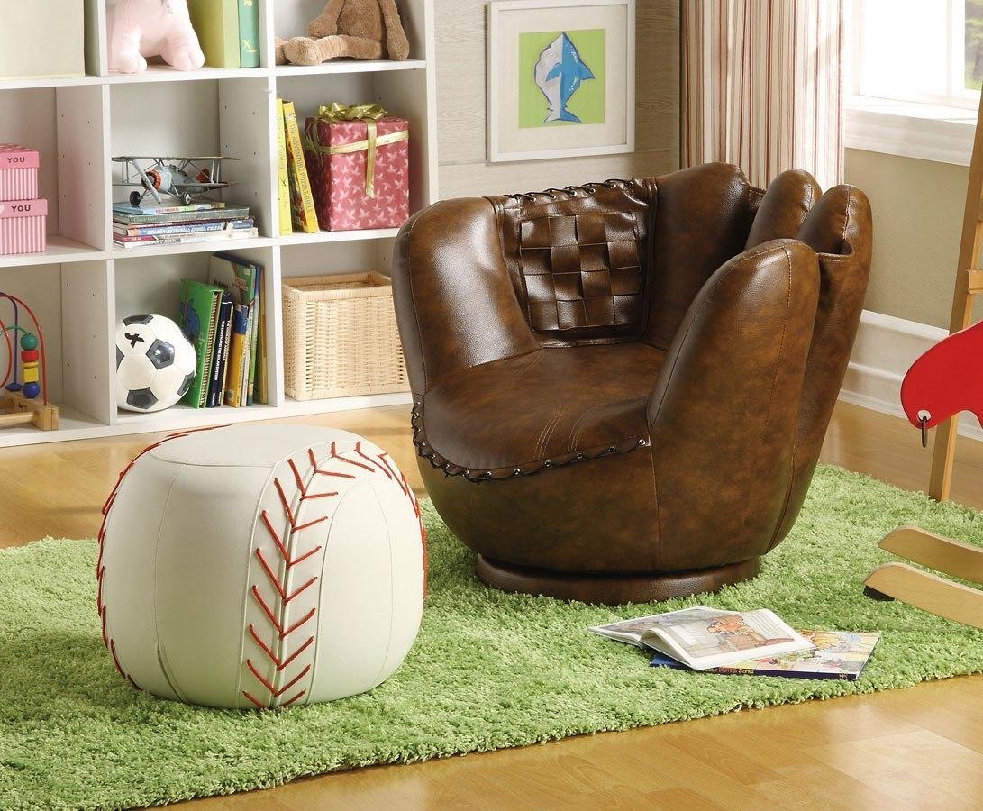 Baseball Glove Kids Chair W Ottoman By Crown Mark
